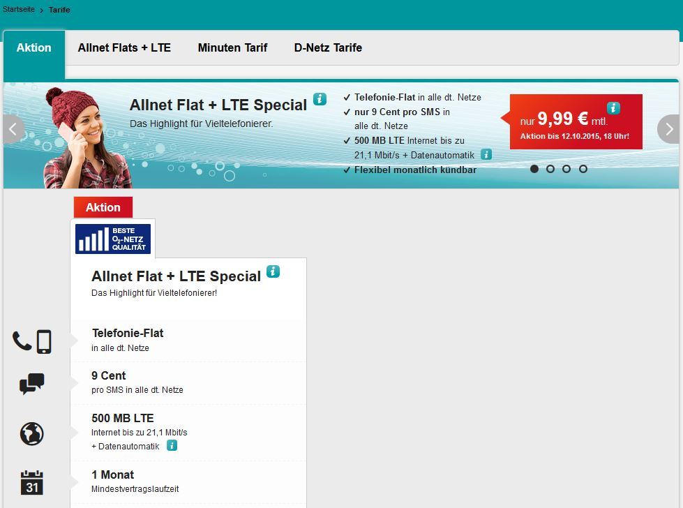 Bis 12.10.15: hellomobil Allnet-Flat inkl. 500 MB LTE Internet-Flat – monatlich kündbar