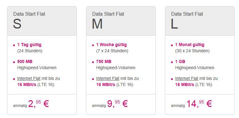 T-Mobile Prepaid Datentarife mit LTE