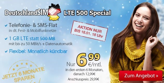 LTE 500 Special Aktion: 1 GB LTE inkl Allnet- & SMS Flat ab 6,99 Euro mtl.